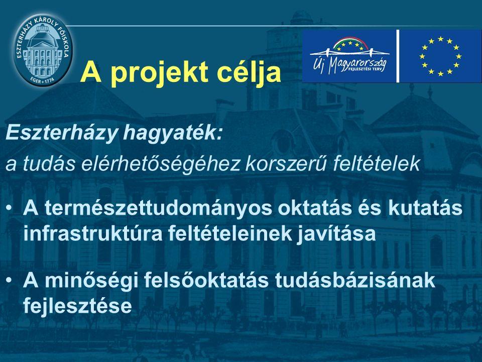 A projekt célja Eszterházy hagyaték: a tudás elérhetőségéhez korszerű feltételek A természettudományos oktatás és kutatás infrastruktúra feltételeinek javítása A minőségi felsőoktatás tudásbázisának fejlesztése
