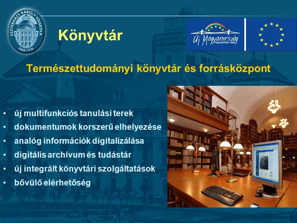 Könyvtár Természettudományi könyvtár és forrásközpont új multifunkciós tanulási terek dokumentumok korszerű elhelyezése analóg információk digitalizálása digitális archívum és tudástár új integrált könyvtári szolgáltatások bővülő elérhetőség