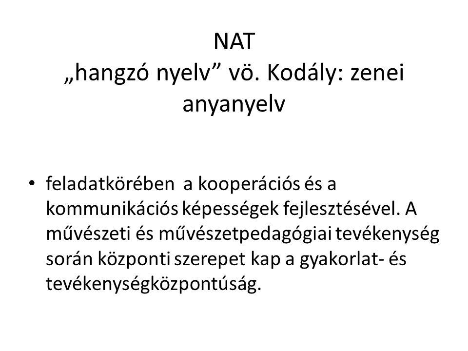 """NAT """"hangzó nyelv"""" vö. Kodály: zenei anyanyelv feladatkörében a kooperációs és a kommunikációs képességek fejlesztésével. A művészeti és művészetpedag"""
