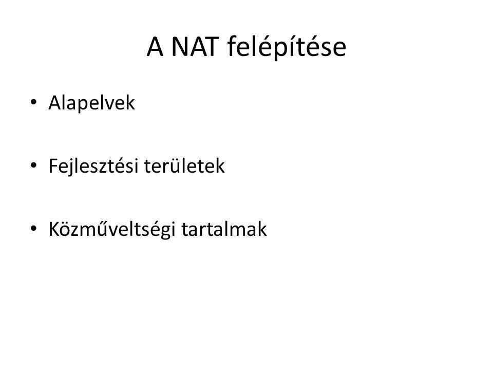A NAT felépítése Alapelvek Fejlesztési területek Közműveltségi tartalmak