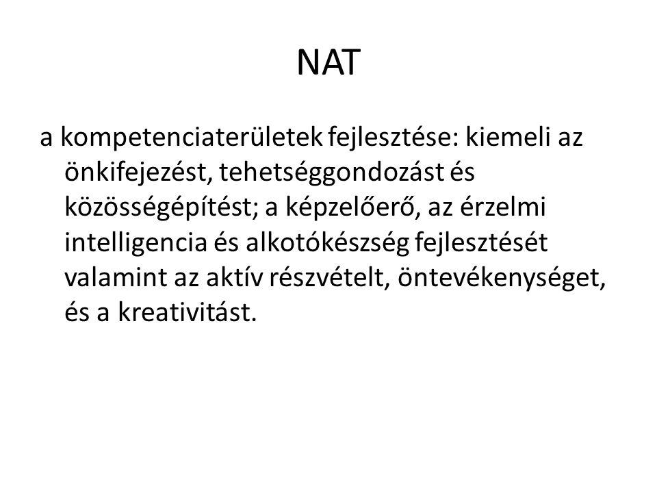 NAT a kompetenciaterületek fejlesztése: kiemeli az önkifejezést, tehetséggondozást és közösségépítést; a képzelőerő, az érzelmi intelligencia és alkot
