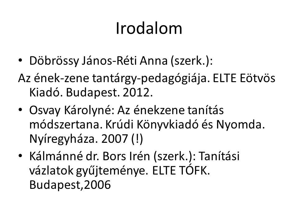 Irodalom Döbrössy János-Réti Anna (szerk.): Az ének-zene tantárgy-pedagógiája. ELTE Eötvös Kiadó. Budapest. 2012. Osvay Károlyné: Az énekzene tanítás
