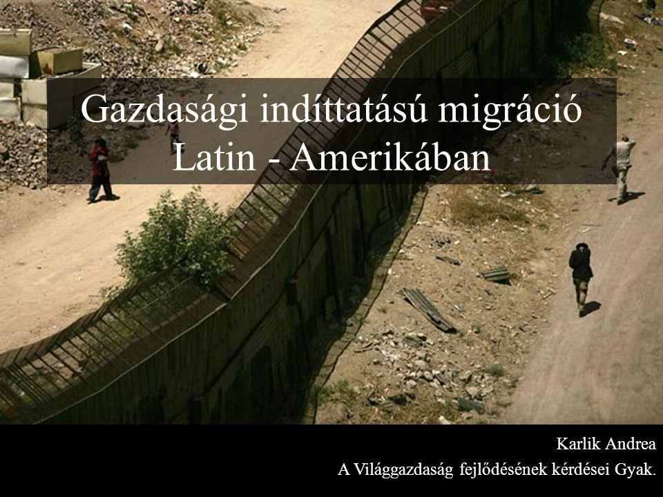 Gazdasági indíttatású migráció Latin - Amerikában Karlik Andrea A Világgazdaság fejlődésének kérdései Gyak.
