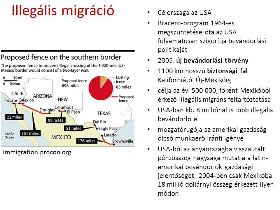 Illegális migráció Célországa az USA Bracero-program 1964-es megszüntetése óta az USA folyamatosan szigorítja bevándorlási politikáját 2005.