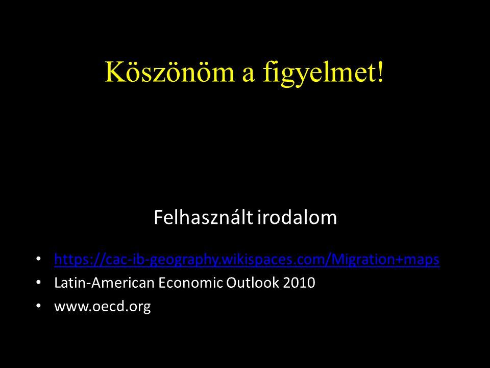 Felhasznált irodalom https://cac-ib-geography.wikispaces.com/Migration+maps Latin-American Economic Outlook 2010 www.oecd.org Köszönöm a figyelmet!