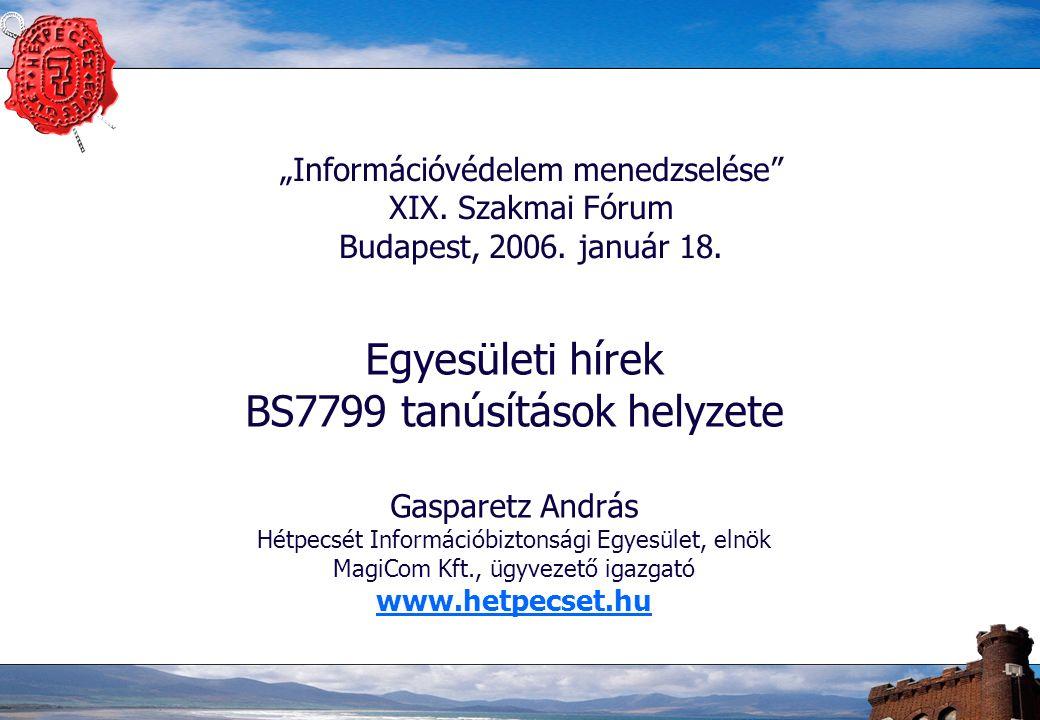 """2 Hétpecsét Információbiztonsági Egyesület –2004-ben alapította 12 magánszemély –2001 óta működő """"Értékteremtő munkacsoport eredményeinek továbbvitele –Céljaink: az információs társadalom biztonságának támogatása az információvédelem kultúrájának és ismereteinek terjesztése, a tudatosság kialakítása információvédelmi szakmai műhely létrehozása"""