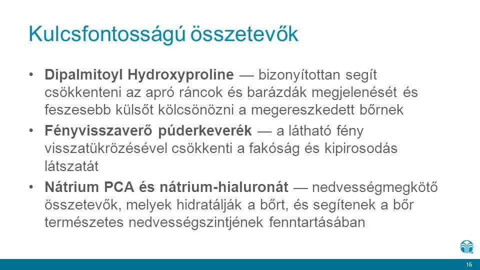 15 Kulcsfontosságú összetevők Dipalmitoyl Hydroxyproline — bizonyítottan segít csökkenteni az apró ráncok és barázdák megjelenését és feszesebb külsőt