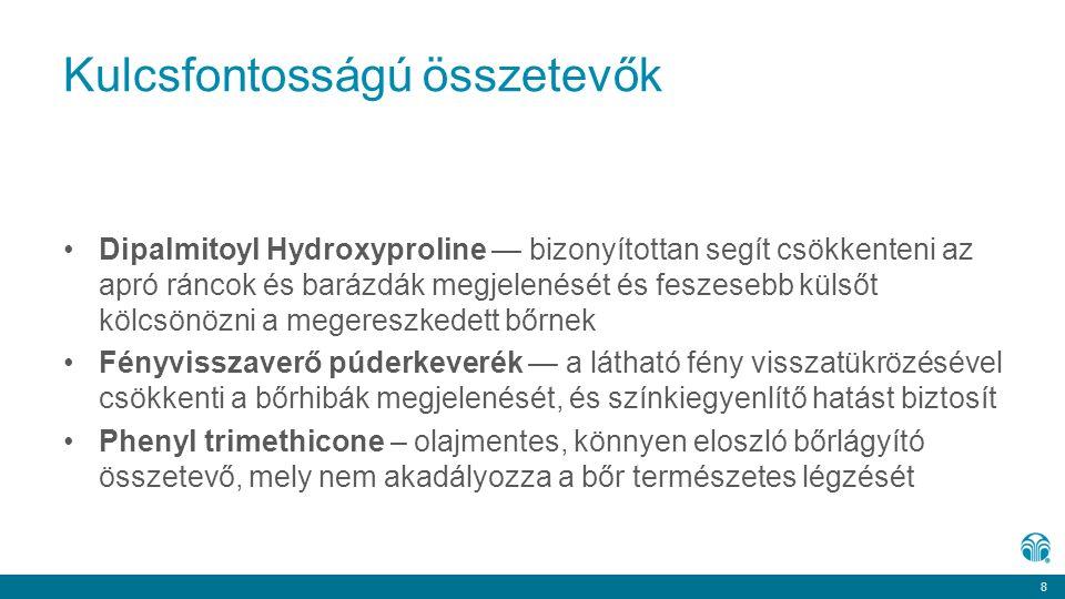 8 8 Kulcsfontosságú összetevők Dipalmitoyl Hydroxyproline — bizonyítottan segít csökkenteni az apró ráncok és barázdák megjelenését és feszesebb külső