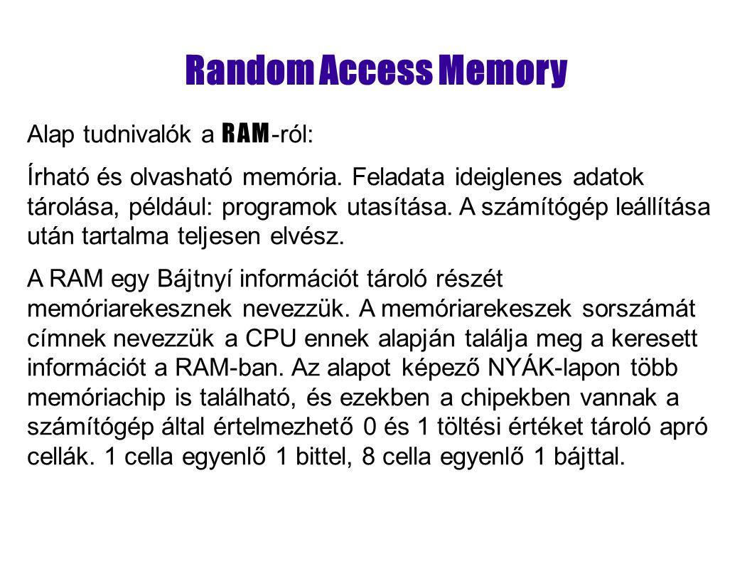 A RAM Két fajtája Statikus RAM, (SRAM angolul Static Random Access Memory).