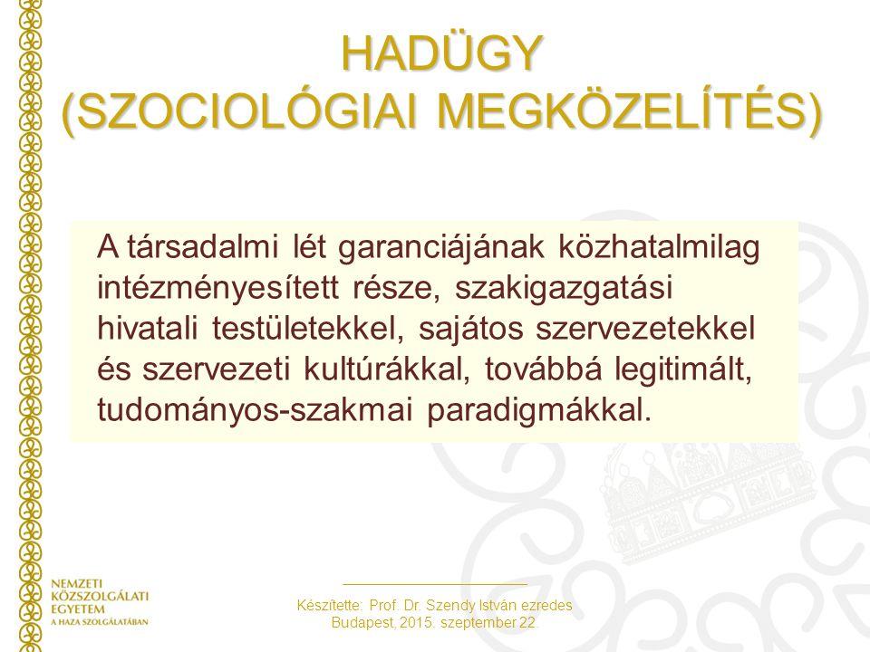 Készítette: Prof. Dr. Szendy István ezredes Budapest, 2015. szeptember 22. HADÜGY (SZOCIOLÓGIAI MEGKÖZELÍTÉS) A társadalmi lét garanciájának közhatalm