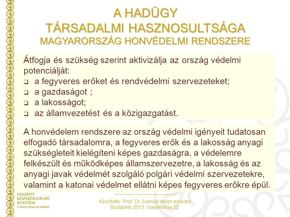 Készítette: Prof. Dr. Szendy István ezredes Budapest, 2015. szeptember 22. A honvédelem rendszere az ország védelmi igényeit tudatosan elfogadó társad