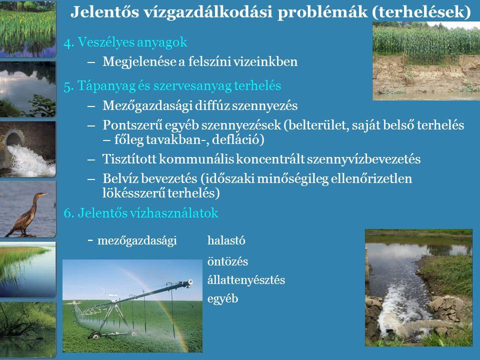 Jelentős vízgazdálkodási problémák (terhelések) 4. Veszélyes anyagok – Megjelenése a felszíni vizeinkben 5. Tápanyag és szervesanyag terhelés – Mezőga