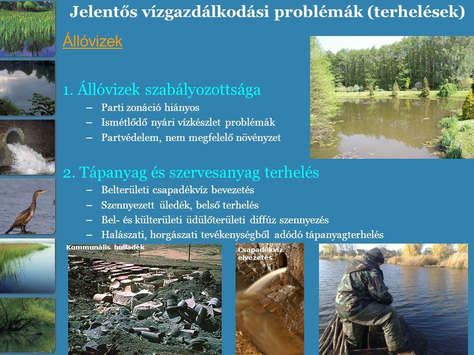 Jelentős vízgazdálkodási problémák (terhelések) Állóvizek 1. Állóvizek szabályozottsága – Parti zonáció hiányos – Ismétlődő nyári vízkészlet problémák
