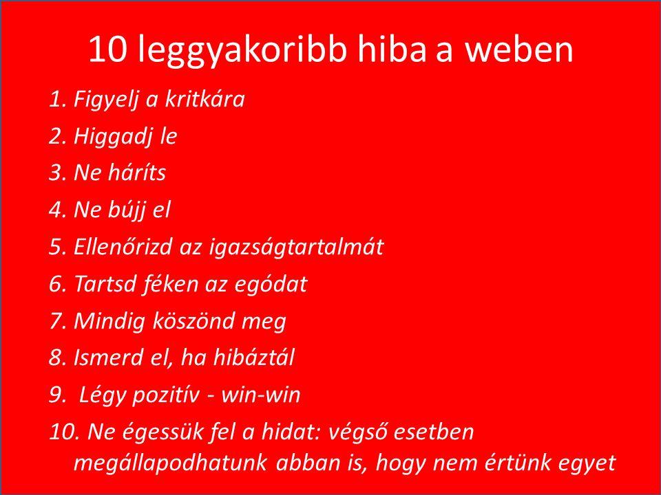 10 leggyakoribb hiba a weben 1.Figyelj a kritkára 2.Higgadj le 3.Ne háríts 4.Ne bújj el 5.Ellenőrizd az igazságtartalmát 6.Tartsd féken az egódat 7.Mindig köszönd meg 8.Ismerd el, ha hibáztál 9.