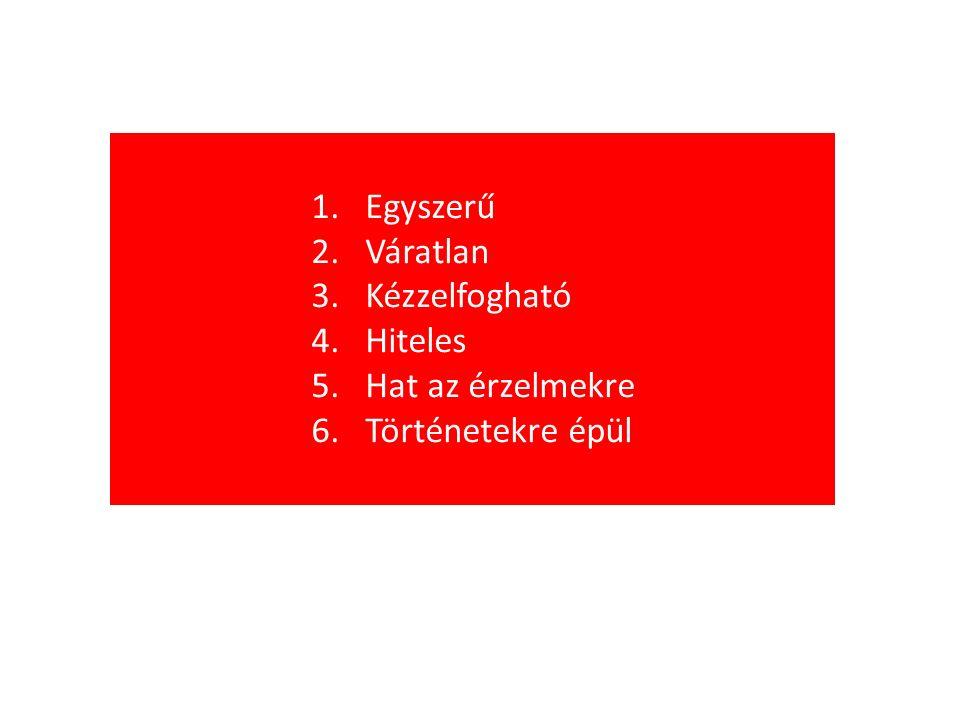 1.Egyszerű 2.Váratlan 3.Kézzelfogható 4.Hiteles 5.Hat az érzelmekre 6.Történetekre épül