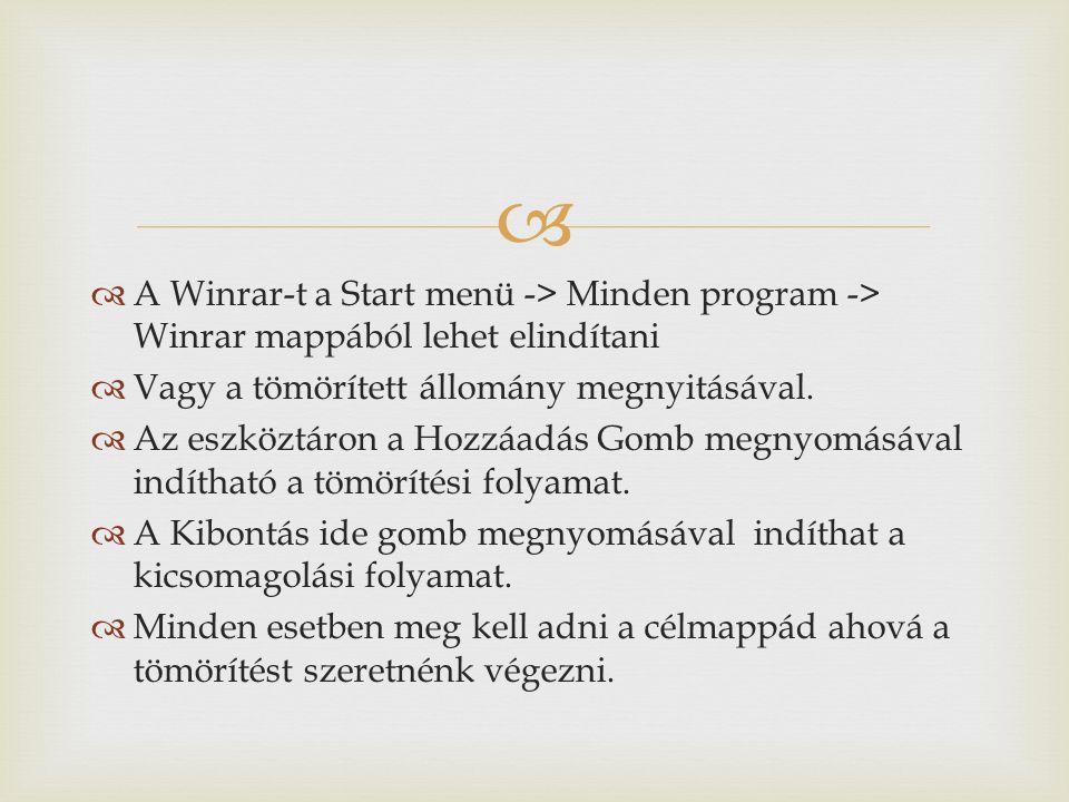  Winrar Összetömörítés Kicsomagolá s