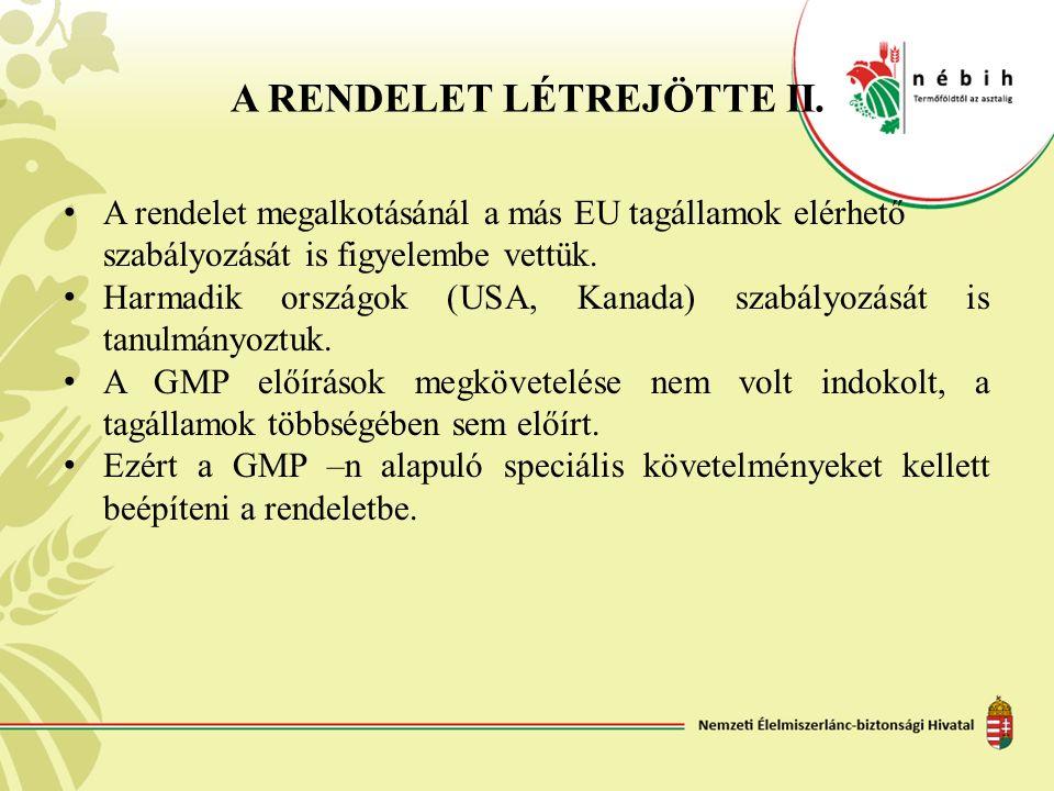 A RENDELET LÉTREJÖTTE II. A rendelet megalkotásánál a más EU tagállamok elérhető szabályozását is figyelembe vettük. Harmadik országok (USA, Kanada) s