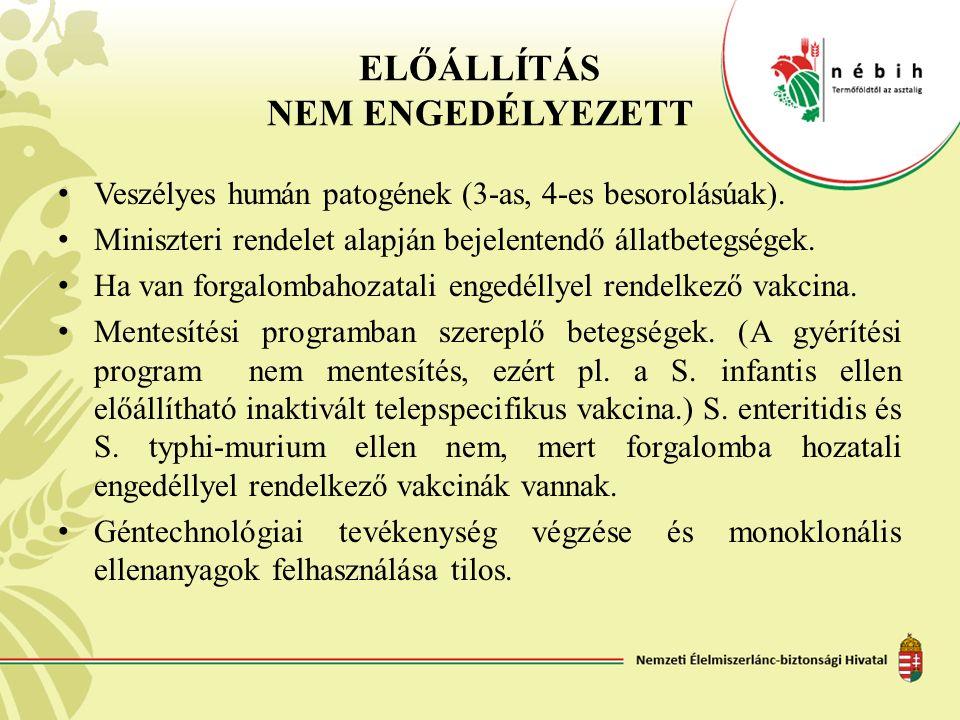 ELŐÁLLÍTÁS NEM ENGEDÉLYEZETT Veszélyes humán patogének (3-as, 4-es besorolásúak). Miniszteri rendelet alapján bejelentendő állatbetegségek. Ha van for