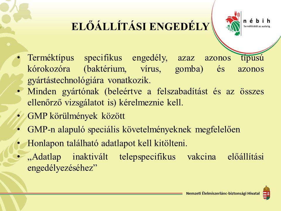 ELŐÁLLÍTÁSI ENGEDÉLY Terméktípus specifikus engedély, azaz azonos típusú kórokozóra (baktérium, vírus, gomba) és azonos gyártástechnológiára vonatkozi