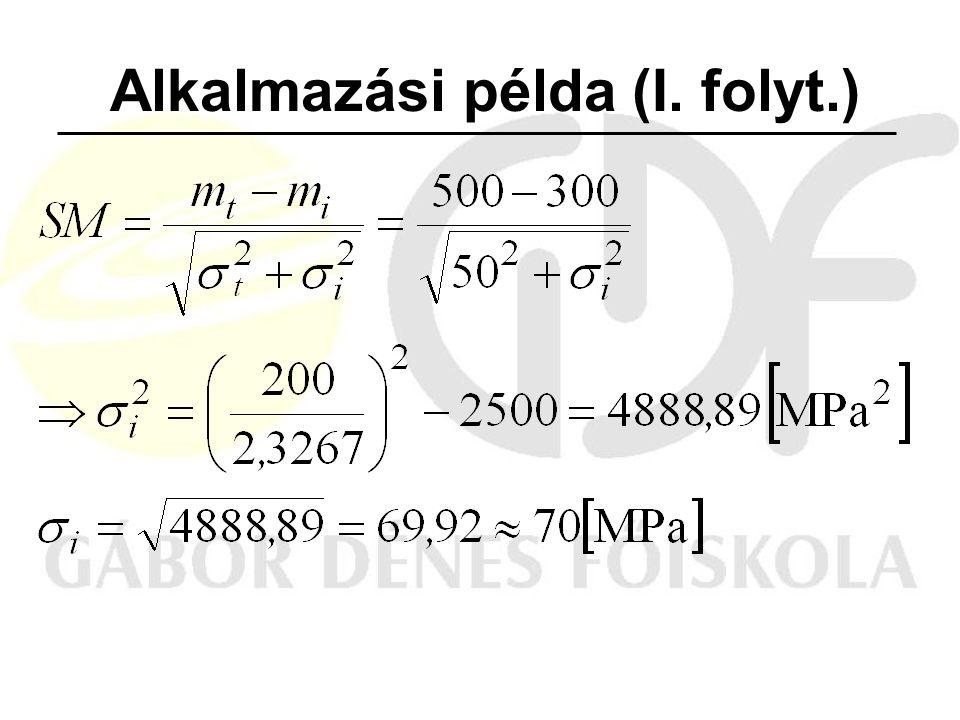 Alkalmazási példa (I. folyt.)