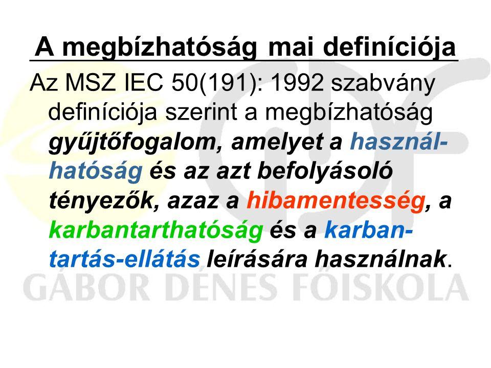 A megbízhatóság mai definíciója Az MSZ IEC 50(191): 1992 szabvány definíciója szerint a megbízhatóság gyűjtőfogalom, amelyet a használ- hatóság és az azt befolyásoló tényezők, azaz a hibamentesség, a karbantarthatóság és a karban- tartás-ellátás leírására használnak.