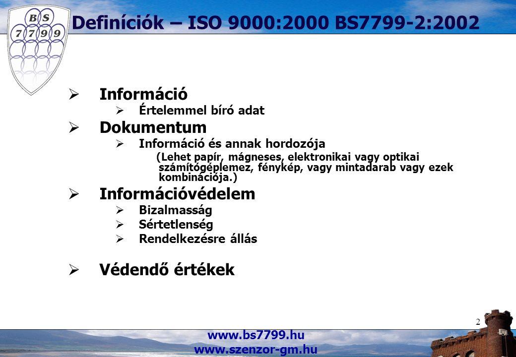 www.bs7799.hu www.szenzor-gm.hu 2 Definíciók – ISO 9000:2000 BS7799-2:2002  Információ  Értelemmel bíró adat  Dokumentum  Információ és annak hordozója (Lehet papír, mágneses, elektronikai vagy optikai számítógéplemez, fénykép, vagy mintadarab vagy ezek kombinációja.)  Információvédelem  Bizalmasság  Sértetlenség  Rendelkezésre állás  Védendő értékek