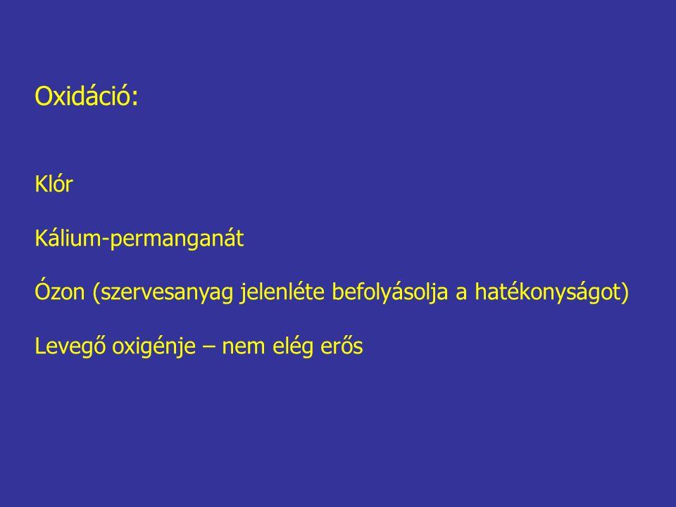 Oxidáció: Klór Kálium-permanganát Ózon (szervesanyag jelenléte befolyásolja a hatékonyságot) Levegő oxigénje – nem elég erős