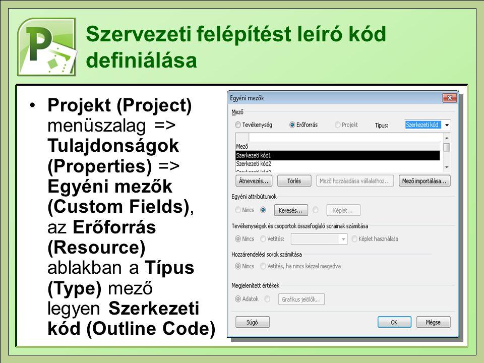 Szervezeti felépítést leíró kód definiálása Projekt (Project) menüszalag => Tulajdonságok (Properties) => Egyéni mezők (Custom Fields), az Erőforrás (Resource) ablakban a Típus (Type) mező legyen Szerkezeti kód (Outline Code)
