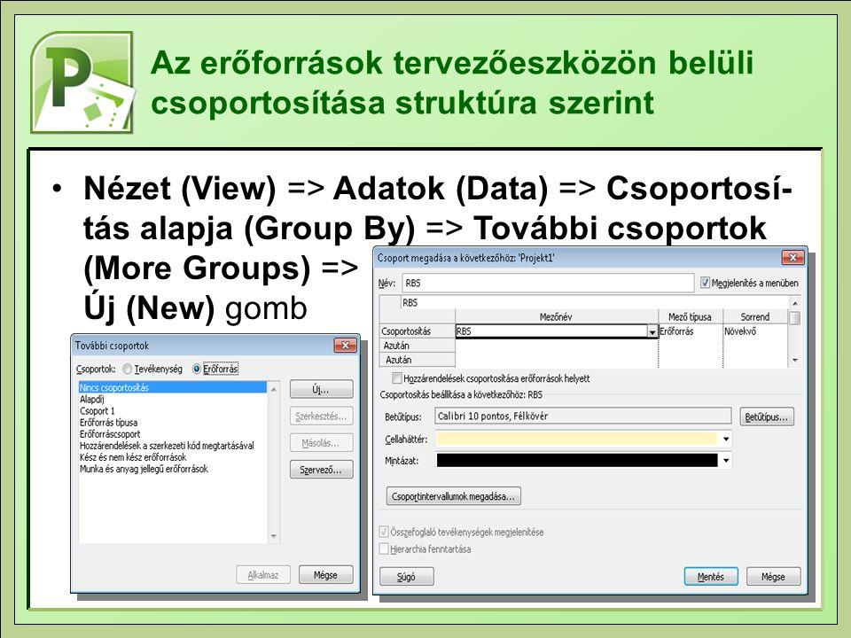 Az erőforrások tervezőeszközön belüli csoportosítása struktúra szerint Nézet (View) => Adatok (Data) => Csoportosí- tás alapja (Group By) => További csoportok (More Groups) => Új (New) gomb