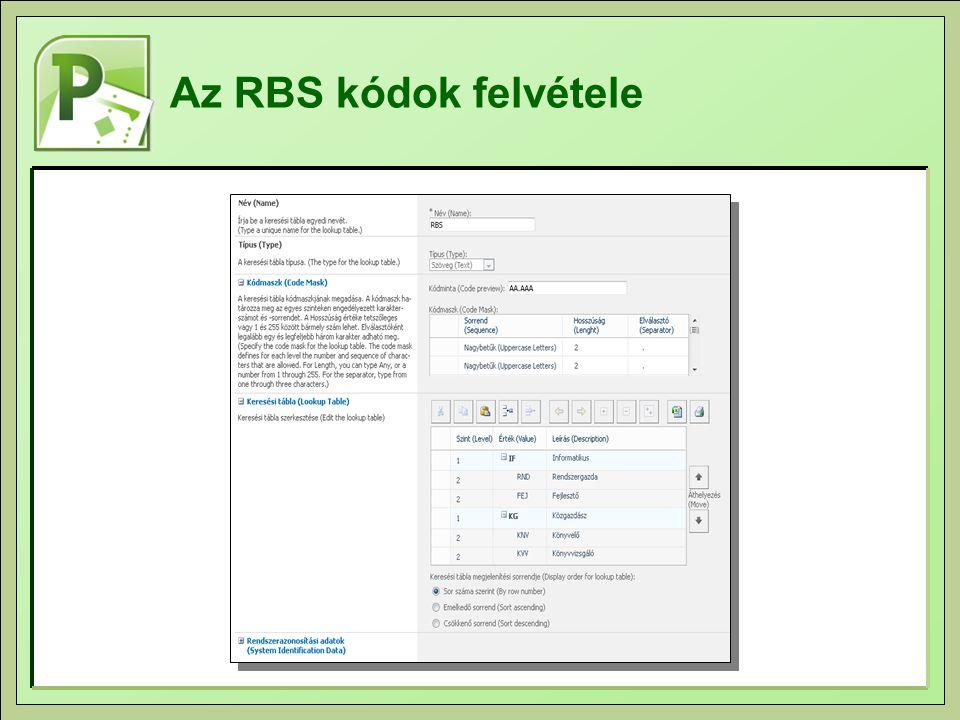 Az RBS kódok felvétele