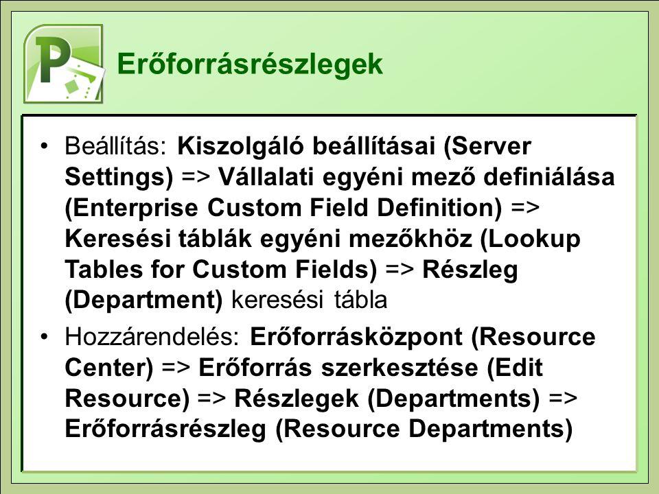 Erőforrásrészlegek Beállítás: Kiszolgáló beállításai (Server Settings) => Vállalati egyéni mező definiálása (Enterprise Custom Field Definition) => Keresési táblák egyéni mezőkhöz (Lookup Tables for Custom Fields) => Részleg (Department) keresési tábla Hozzárendelés: Erőforrásközpont (Resource Center) => Erőforrás szerkesztése (Edit Resource) => Részlegek (Departments) => Erőforrásrészleg (Resource Departments)