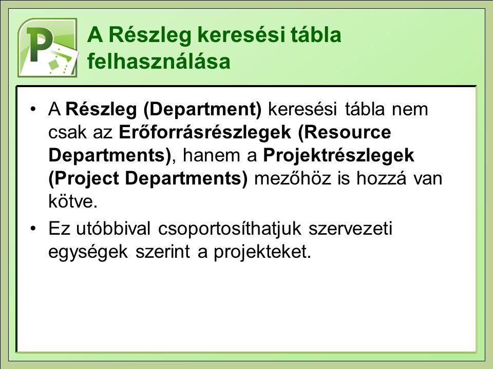 A Részleg keresési tábla felhasználása A Részleg (Department) keresési tábla nem csak az Erőforrásrészlegek (Resource Departments), hanem a Projektrészlegek (Project Departments) mezőhöz is hozzá van kötve.