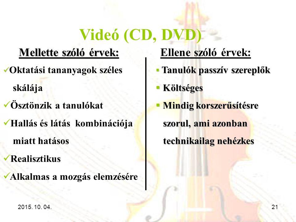 Videó (CD, DVD) Oktatási tananyagok széles skálája Ösztönzik a tanulókat Hallás és látás kombinációja miatt hatásos Realisztikus Alkalmas a mozgás ele