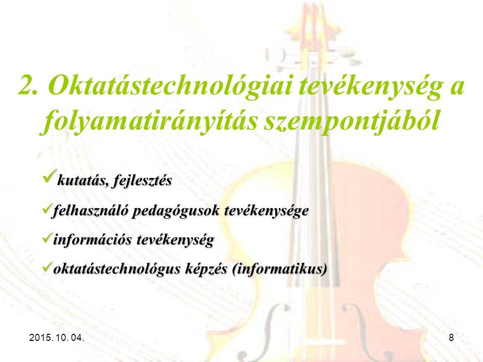 2. Oktatástechnológiai tevékenység a folyamatirányítás szempontjából kutatás, fejlesztés kutatás, fejlesztés felhasználó pedagógusok tevékenysége felh