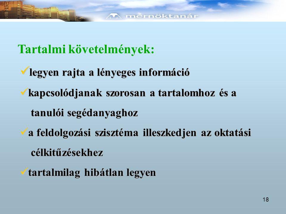 Tartalmi követelmények: legyen rajta a lényeges információ legyen rajta a lényeges információ kapcsolódjanak szorosan a tartalomhoz és a kapcsolódjana