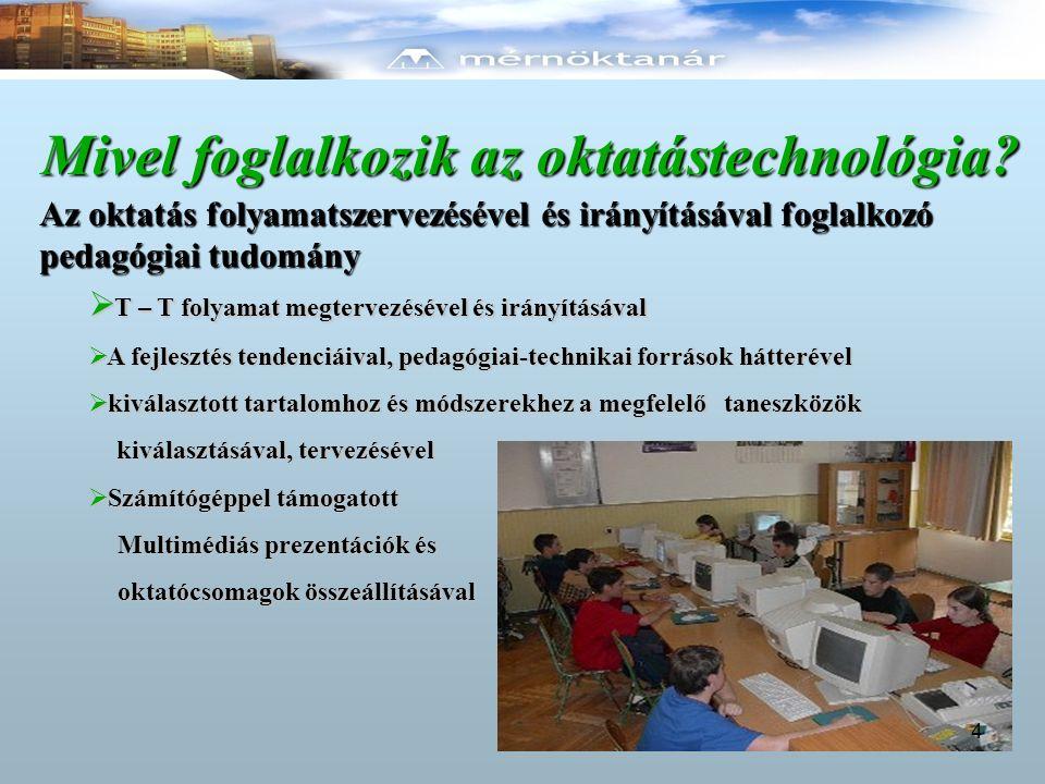 Az oktatástechnológia forrásai Pedagógiai források Technikai források  a didaktikusság  az audio-vizuális információhordozók szerepe az oktatásban  kommunikációs szemlélet  kibernetika, mint rendszerszemlélet  a programozott oktatás és a MM vetítőgépek  vetítőgépek  fényképezőgép  diavetítő  írásvetítők  oktatófilmek  számítógépek 5