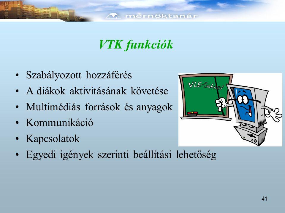 VTK funkciók Szabályozott hozzáférés A diákok aktivitásának követése Multimédiás források és anyagok Kommunikáció Kapcsolatok Egyedi igények szerinti