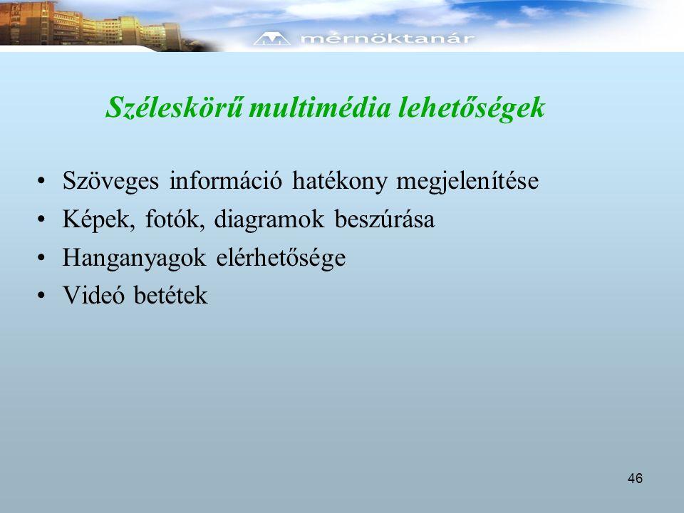 Széleskörű multimédia lehetőségek Szöveges információ hatékony megjelenítése Képek, fotók, diagramok beszúrása Hanganyagok elérhetősége Videó betétek
