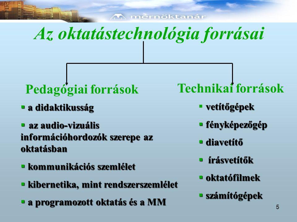 Az oktatástechnológia forrásai Pedagógiai források Technikai források  a didaktikusság  az audio-vizuális információhordozók szerepe az oktatásban 