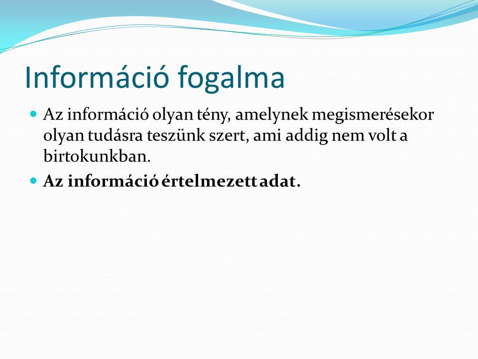 Információ fogalma Az információ olyan tény, amelynek megismerésekor olyan tudásra teszünk szert, ami addig nem volt a birtokunkban. Az információ ért
