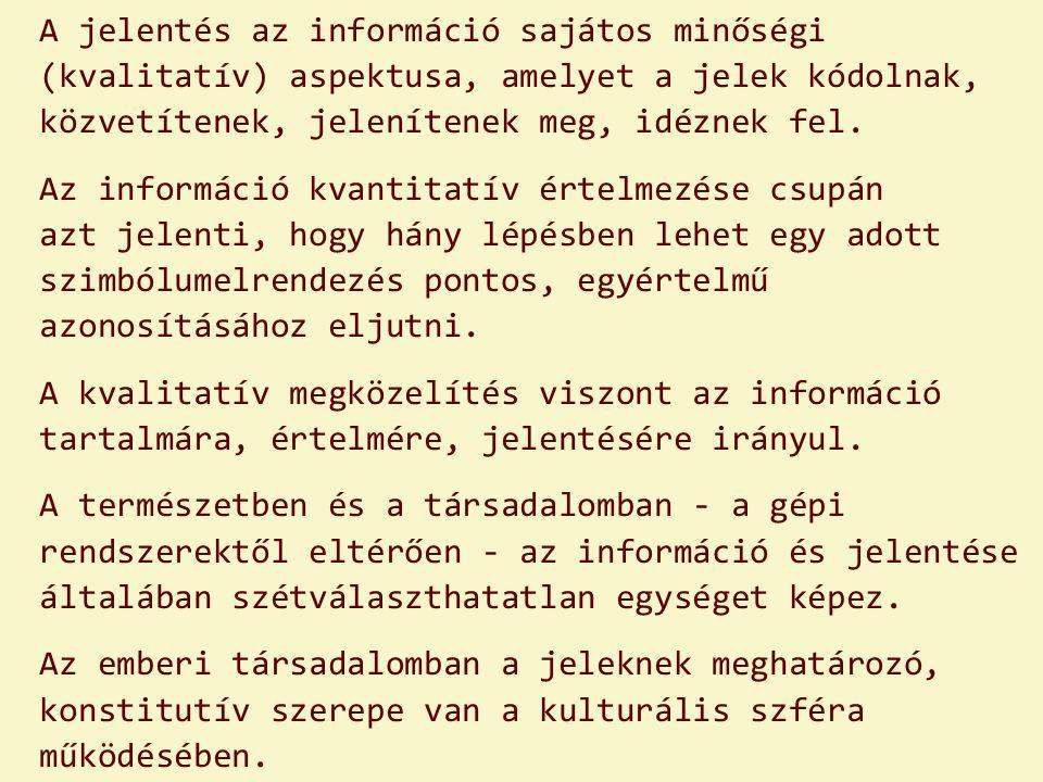 A jelentés az információ sajátos minőségi (kvalitatív) aspektusa, amelyet a jelek kódolnak, közvetítenek, jelenítenek meg, idéznek fel.