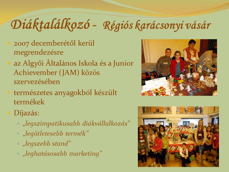 Diáktalálkozó - Régiós karácsonyi vásár 2007 decemberétől kerül megrendezésre az Algyői Általános Iskola és a Junior Achievember (JAM) közös szervezés