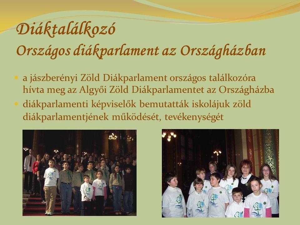 Diáktalálkozó Országos diákparlament az Országházban a jászberényi Zöld Diákparlament országos találkozóra hívta meg az Algyői Zöld Diákparlamentet az