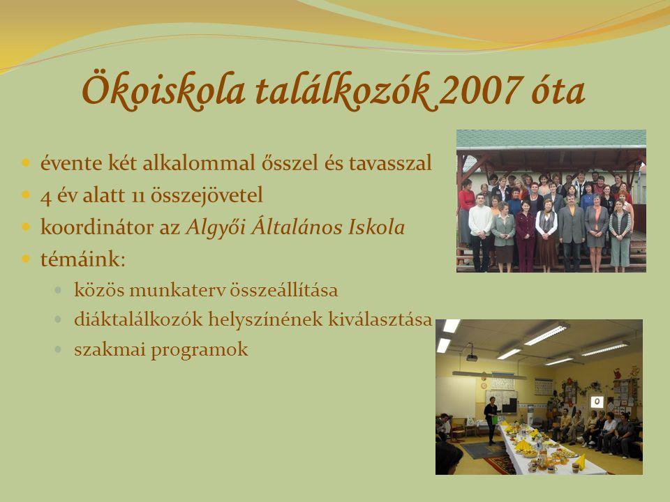 Ökoiskola találkozók 2007 óta évente két alkalommal ősszel és tavasszal 4 év alatt 11 összejövetel koordinátor az Algyői Általános Iskola témáink: köz