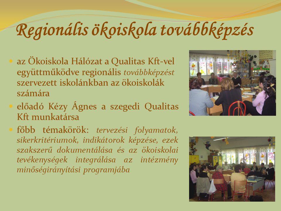 Regionális ökoiskola továbbképzés az Ökoiskola Hálózat a Qualitas Kft-vel együttműködve regionális továbbképzést szervezett iskolánkban az ökoiskolák