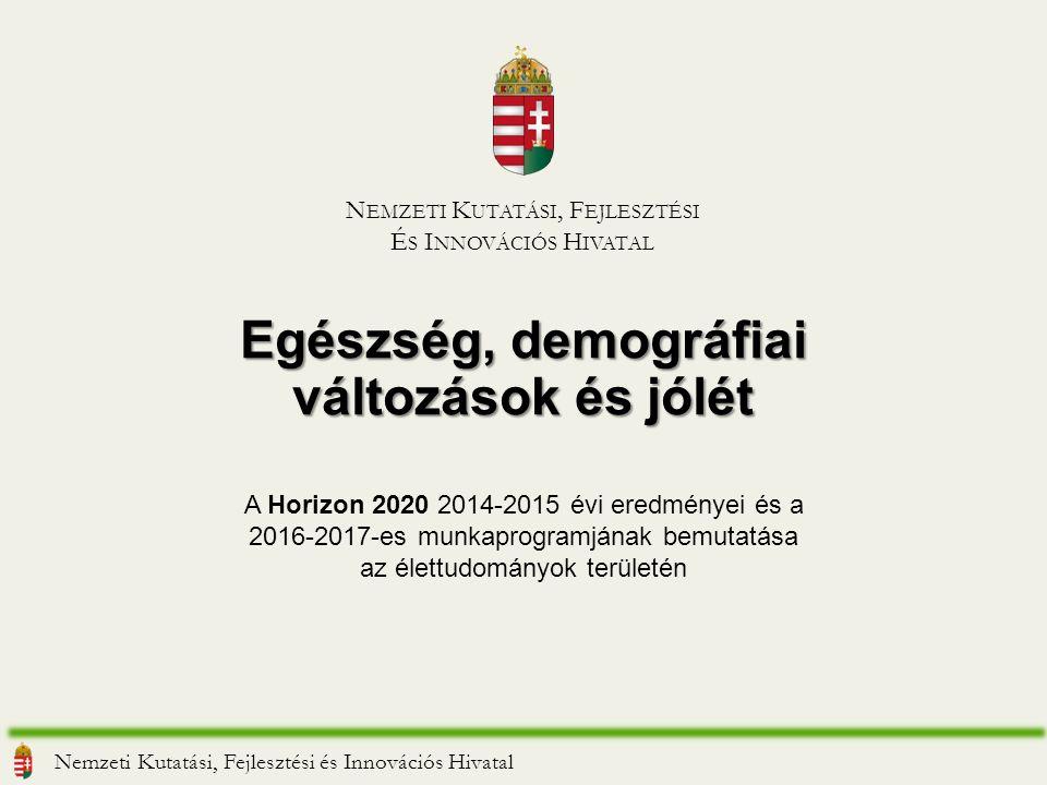 Egészség, demográfiai változások és jólét Nemzeti Kutatási, Fejlesztési és Innovációs Hivatal N EMZETI K UTATÁSI, F EJLESZTÉSI É S I NNOVÁCIÓS H IVATAL A Horizon 2020 2014-2015 évi eredményei és a 2016-2017-es munkaprogramjának bemutatása az élettudományok területén
