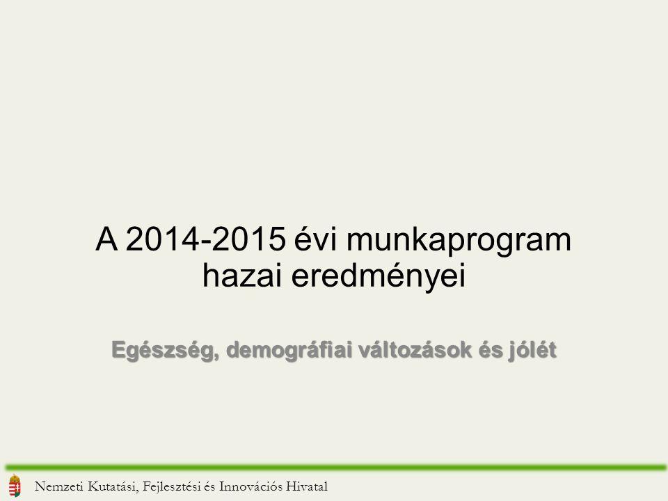 A 2014-2015 évi munkaprogram hazai eredményei Egészség, demográfiai változások és jólét Nemzeti Kutatási, Fejlesztési és Innovációs Hivatal
