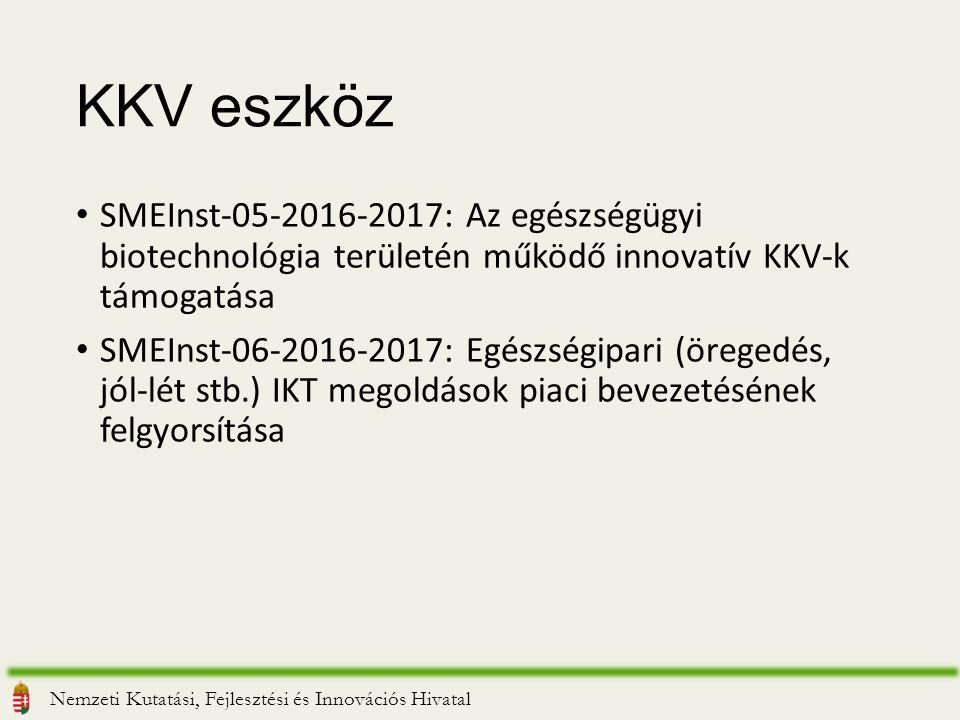KKV eszköz SMEInst-05-2016-2017: Az egészségügyi biotechnológia területén működő innovatív KKV-k támogatása SMEInst-06-2016-2017: Egészségipari (öregedés, jól-lét stb.) IKT megoldások piaci bevezetésének felgyorsítása Nemzeti Kutatási, Fejlesztési és Innovációs Hivatal