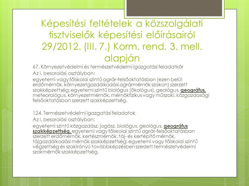 Képesítési feltételek a közszolgálati tisztviselők képesítési előírásairól 29/2012.