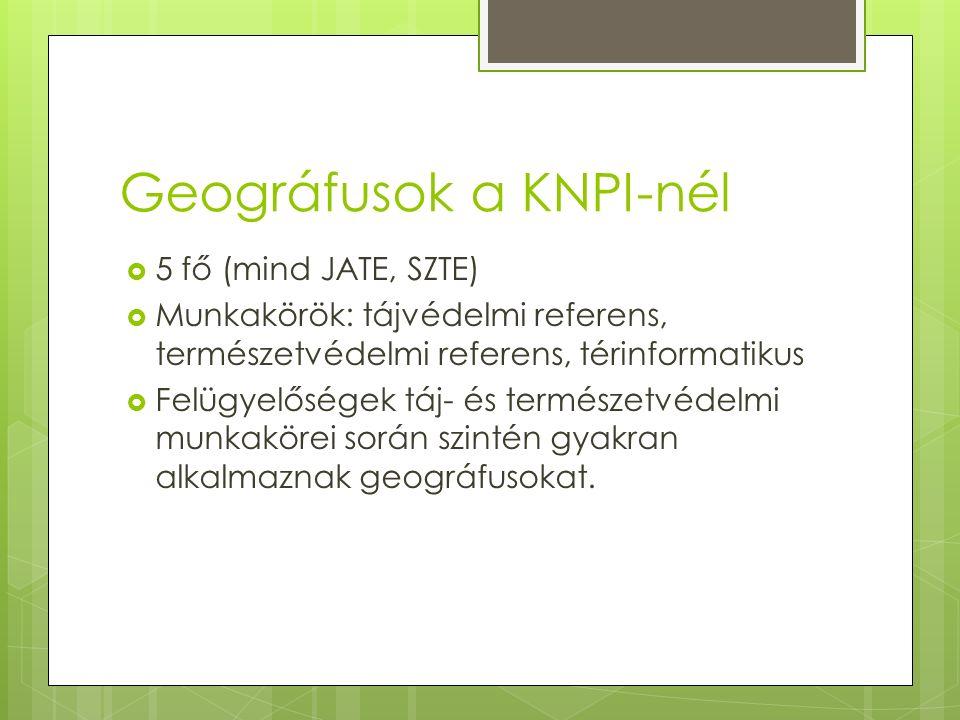 Geográfusok a KNPI-nél  5 fő (mind JATE, SZTE)  Munkakörök: tájvédelmi referens, természetvédelmi referens, térinformatikus  Felügyelőségek táj- és természetvédelmi munkakörei során szintén gyakran alkalmaznak geográfusokat.